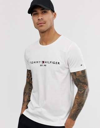 0d296deb36f Tommy Hilfiger embroidered flag logo t-shirt in white