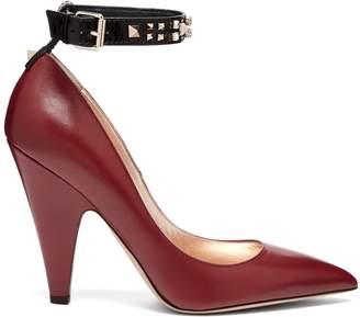 Valentino Rockstud ankle-strap leather pumps