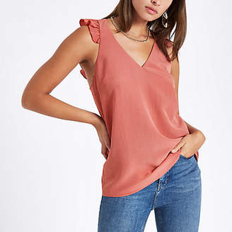 River Island Womens Orange frill shoulder and back sleeveless top