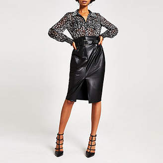 River Island Black faux leather paperbag midi skirt