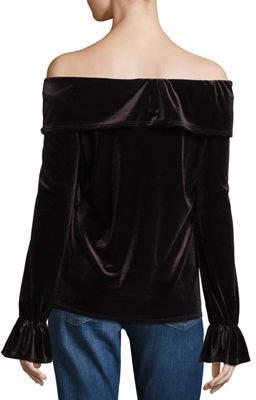 Waverly Grey Off-Shoulder Ruffled Velvet Date Night Top