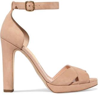 Rupert Sanderson Meadow Suede Platform Sandals - Tan