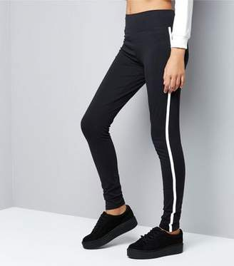 New Look Teens Black Side Stripe Leggings