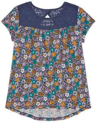 Arizona Girls Round Neck Short Sleeve Lace Trim Tunic Top