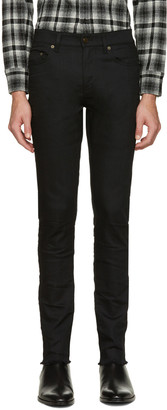 Saint Laurent Black Original Mid Waisted Raw Edge Skinny Jeans $590 thestylecure.com