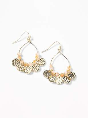 Old Navy Hammered-Coin Teardrop Hoop Earrings for Women