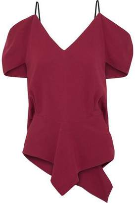 Roland Mouret Chiswell Cold-Shoulder Draped Stretch-Crepe Top