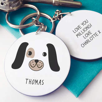 Hurley Sarah Personalised Cute Puppy Face Message Keyring