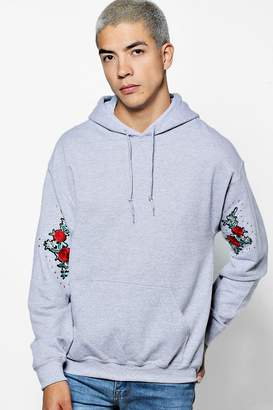 boohoo Over The Head Hoodie With Sleeve Floral Embroidery