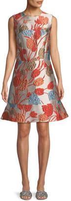 Etro Cloque Sleeveless Flip-Hem Dress
