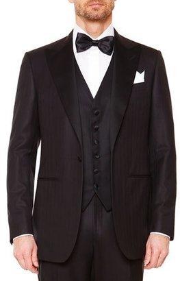 Stefano Ricci Peak-Lapel Wool Tuxedo, Black $9,900 thestylecure.com