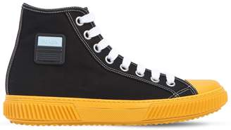 Prada Stratus Cotton Canvas High Top Sneakers
