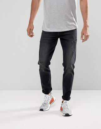 Asos DESIGN Stretch Slim Jeans In 12.5oz Washed Black With Rips