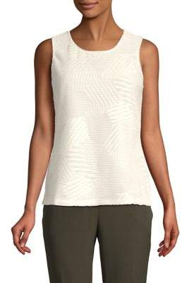 Kasper Sleeveless Mesh-Inset Blouse