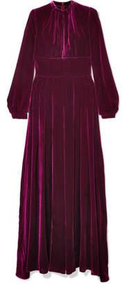 Raquel Diniz - Alma Pleated Silk-velvet Maxi Dress - Magenta