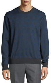 Men's Crewneck Plaid Knit Silk/Wool Sweater