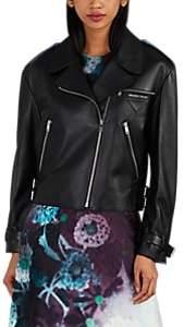 Women's Leather Moto Jacket - Black