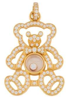 Chopard 18K Happy Diamond Teddy Bear Pendant