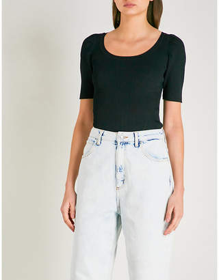 Sandro Scoop-neck ribbed-knit top