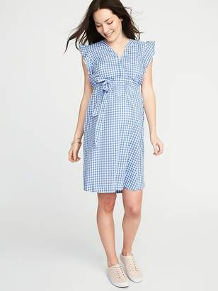 Old Navy Maternity Sleeveless Tie-Waist Shirt Dress
