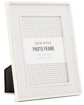 David Jones Silver Plated White Linen 4 x 6 Metal Photo Frame