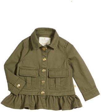 Kate Spade Ruffle-Hem Twill Field Jacket, Size 12-24 Months