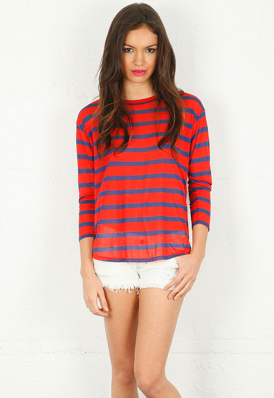 Long Sleeve Stripe Crew - by Enza Costa