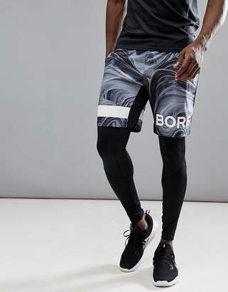 Bjorn Borg Performance Shorts With Logo In Marble Print
