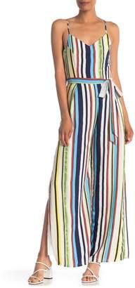 ONE ONE SIX V-Neck Stripe Print Waist Tie Jumpsuit