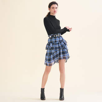 Maje Frilled checked skirt
