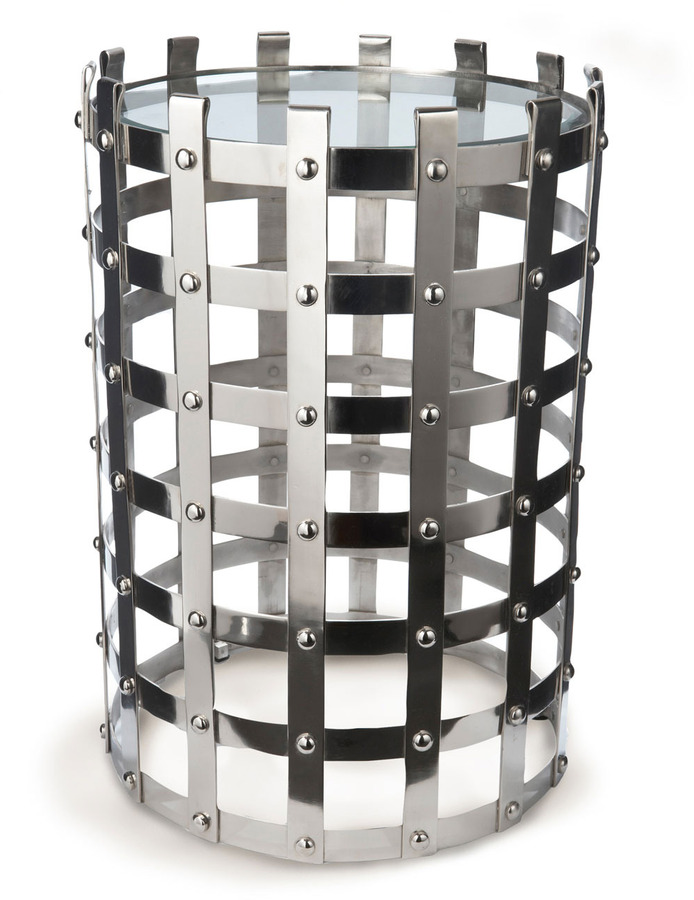 Lazy Susan Metal Strap Table with Glass Top