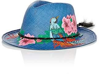 Ibo Maraca Women's Curacao Hand-Painted Straw Panama Hat - Blue, Multi