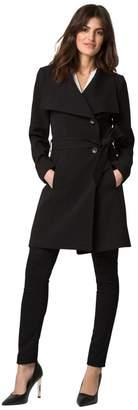 Le Château Women's Double Weave Open Collar Wrap Coat,L