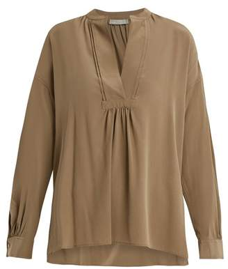 Vince Long Sleeved Sandwashed Silk Crepe Blouse - Womens - Khaki