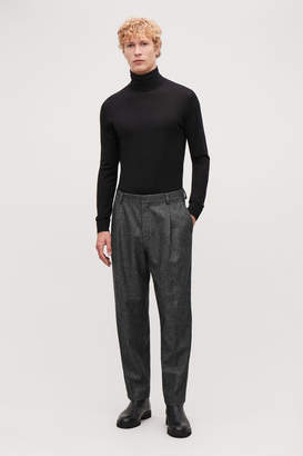 Cos CROPPED HERRINGBONE TROUSERS