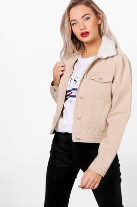 boohoo Slim Fit Borg Collar Denim Jacket