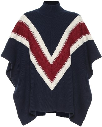 See by Chloe Striped wool and cotton-blend poncho