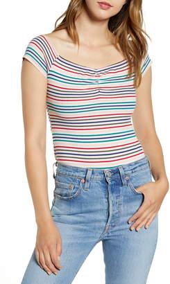 Love, Fire Stripe Ribbed Bodysuit