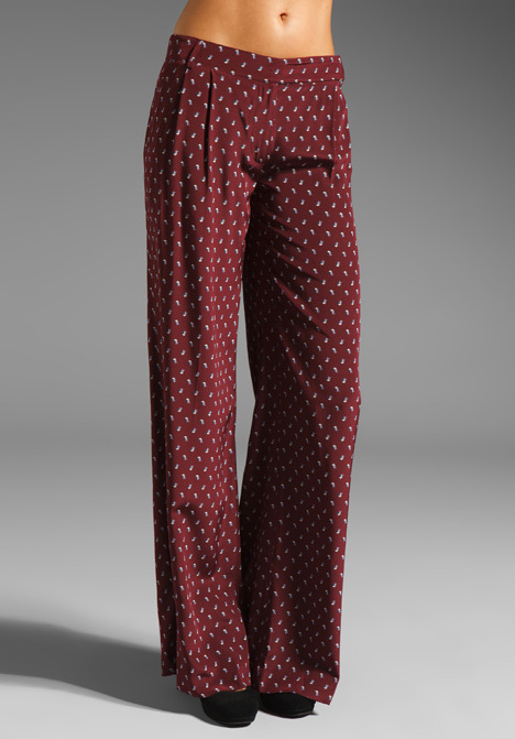 Tibi Sparrow Wide Leg Pant in Burgundy/Ivory
