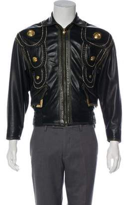286613260 Versace Leather Jacket Mens - ShopStyle