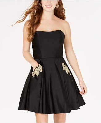 Blondie Nites Juniors' Strapless Embroidered Fit & Flare Dress