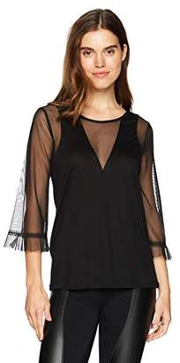BCBGMAXAZRIA Women's Ashleigh Mixed-Media Top