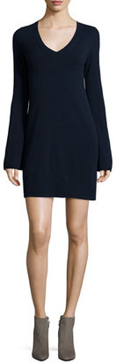 Autumn Cashmere Cashmere V-Neck Bell-Sleeve Sweaterdress $352 thestylecure.com