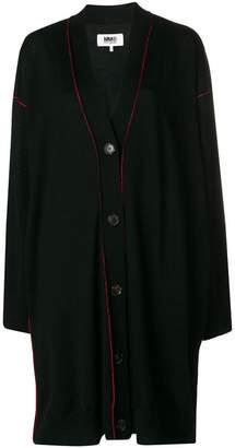 MM6 MAISON MARGIELA contrast stitch oversized cardi-coat