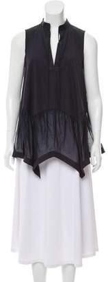 Givenchy Sheer-Paneled Sleeveless Top