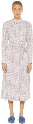 Floral Printed Cotton Poplin Shirt Dress