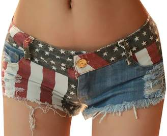 QD-CACA Women's Summer Low-Rise Flag Print Ripped Denim Shorts S