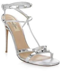 Valentino Rockstud Leather Stiletto Sandals