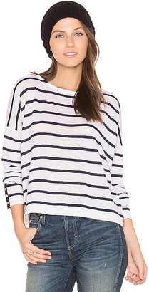 Autumn Cashmere Boatneck Sweater in Navy $286 thestylecure.com