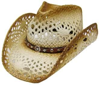 c6c243cc645fb BEIGE Modestone Unisex Straw Cowboy Hat Conchos